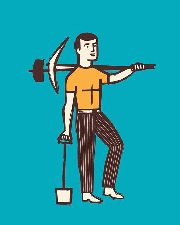 Man with heavy tools