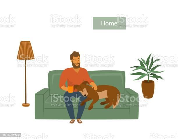 Man with his dog on sofa at home vector illustration scene vector id1014072538?b=1&k=6&m=1014072538&s=612x612&h=itbtjwckbq6oyzi g4kds2ln3k4xvgttmnkjg9ifyym=