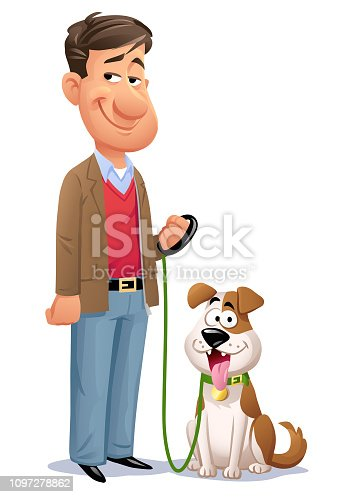 Vector illustration of a man with his cute little dog on a leash, looking at the camera.