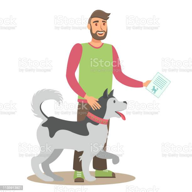 Man with husky flat vector color illustration vector id1133913921?b=1&k=6&m=1133913921&s=612x612&h=zp9r5p hl6sayi6bmtnak1wa2aqoirhwiwm2f96tti8=