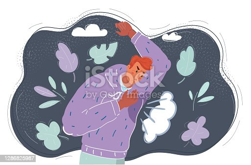 istock Man with hyperhidrosis sweating very badly under armpit in blue shirt, isolated on grey 1286825987