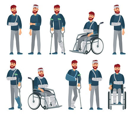 Man with injury. Wheelchair man with broken arm and leg in gypsum. Sad male character with different accident injuries vector cartoon illustration