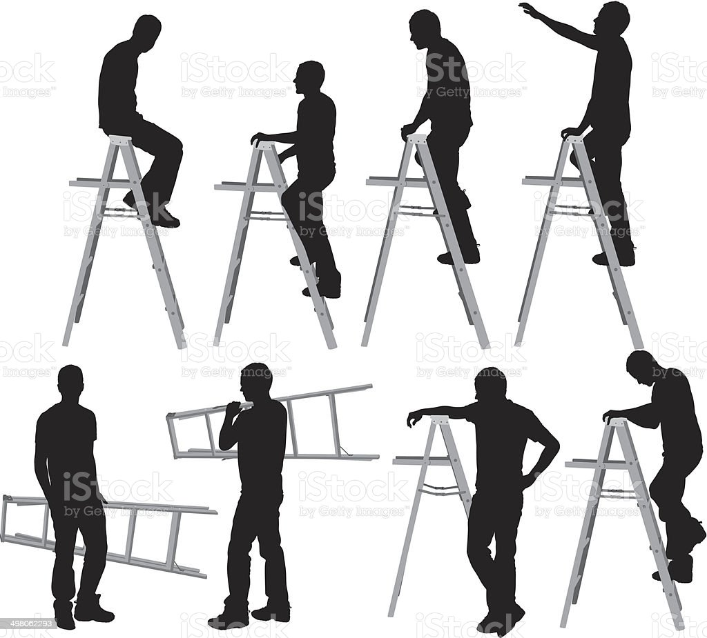 Man with ladder royalty-free man with ladder stock vector art & more images of adult