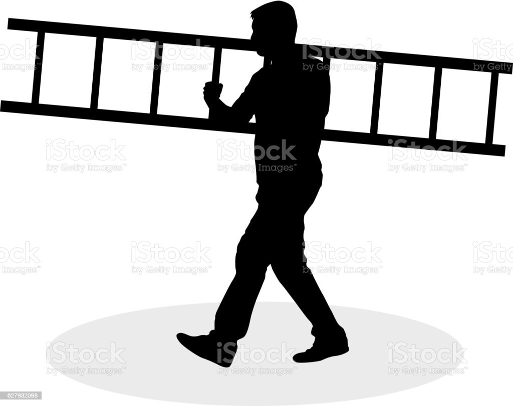 Man with ladder. vector art illustration