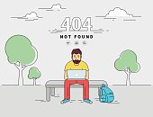 Man with laptop 404 page not found error