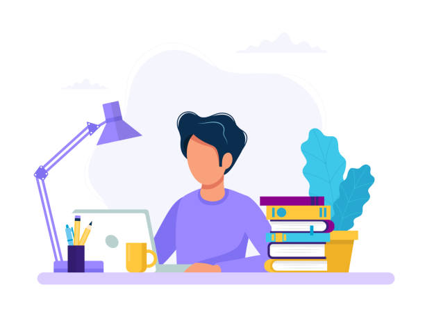 Man with laptop, education or working concept. Table with books, lamp, coffee cup. Vector illustration in flat style vector art illustration