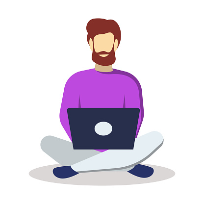 Man with laptop semi flat RGB color vector illustration. Freelancer sitting on floor. Bearded guy surfing Internet. Student studying from home. Remote job. Isolated cartoon character on white