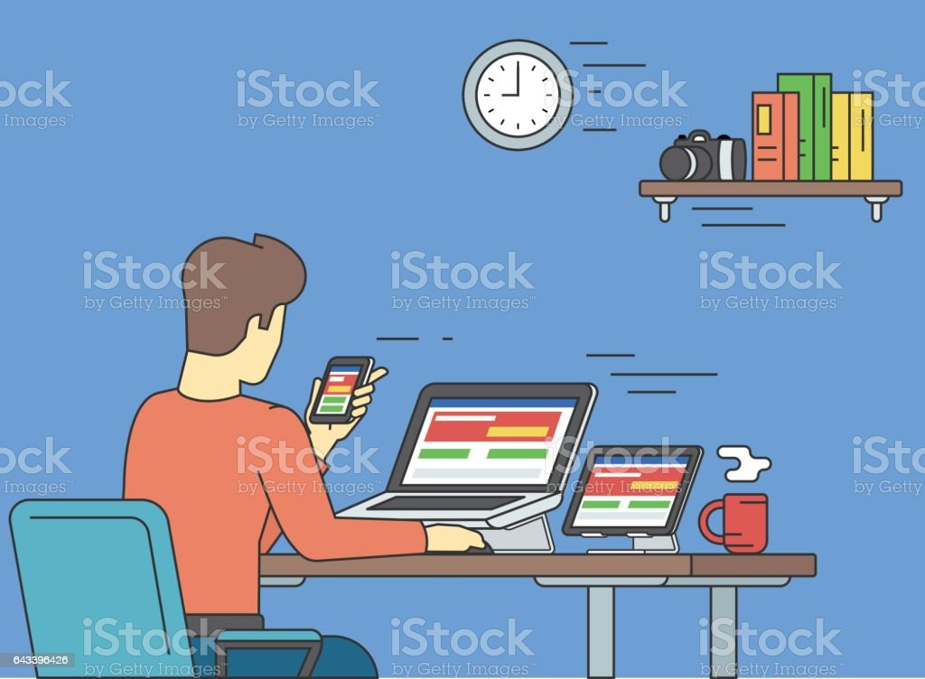 Man with laptop sitting at home vector art illustration