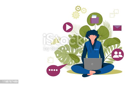 istock Man with laptop sitting in nature and leaves. Concept illustration for working, freelancing, studying, education, work from home. 1198767489