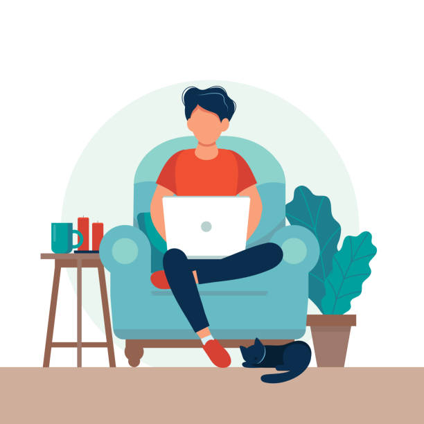 ilustrações de stock, clip art, desenhos animados e ícones de man with laptop sitting on the chair. freelance or studying concept. cute illustration in flat style. - {{asset.href}}