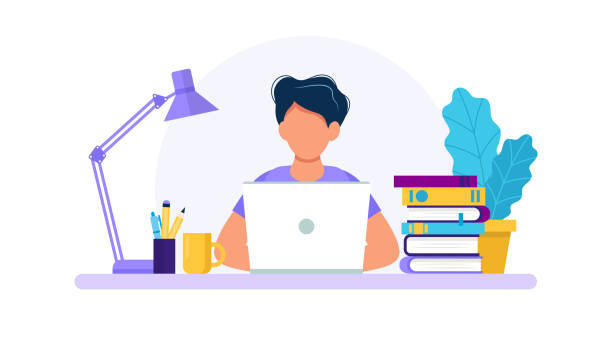 ilustrações de stock, clip art, desenhos animados e ícones de man with laptop, studying or working concept. table with books, lamp, coffee cup. vector illustration in flat style - {{asset.href}}