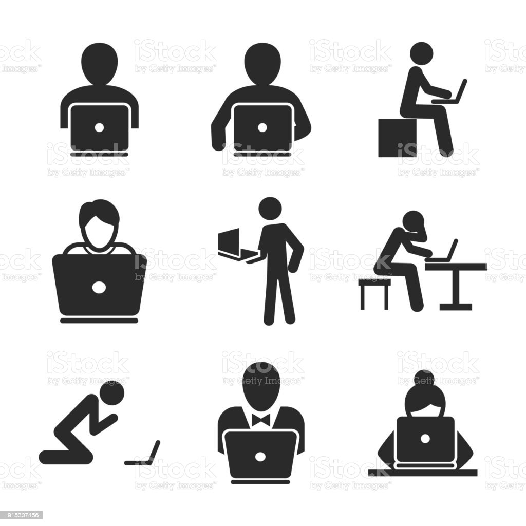 Man with laptop vector icons. vector art illustration