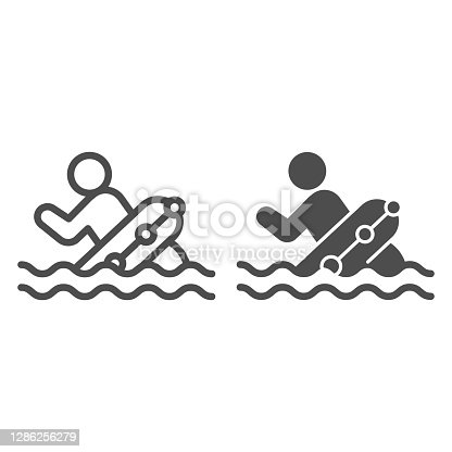 istock Man with lifebuoy in water line and solid icon, Aquapark concept, life preserver sign on white background, Person in rescue buoy icon in outline style for mobile and web design. Vector graphics. 1286256279