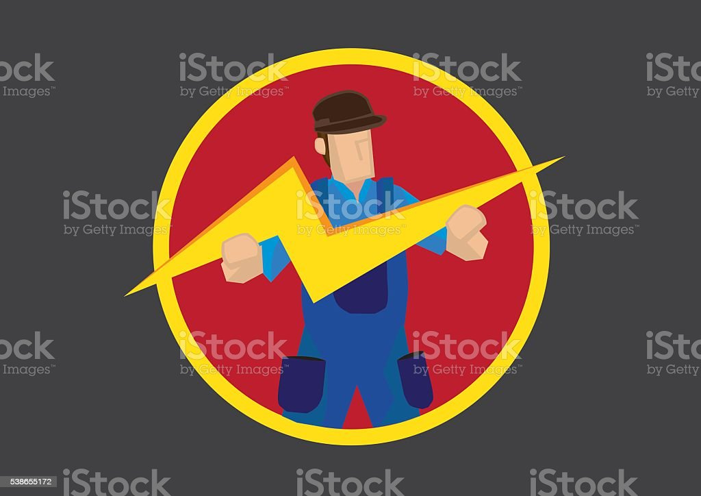 Man with Lightning Symbol Vector Illustration vector art illustration
