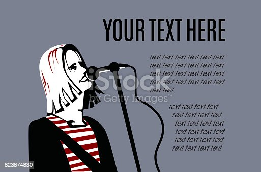 istock Man with long hair is singing in microphone. 823874830