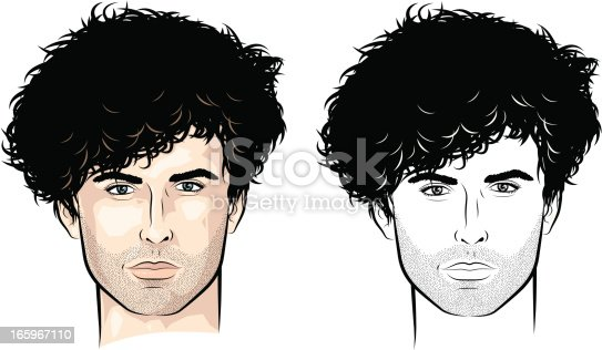 Vector-illustration of a young man's face.