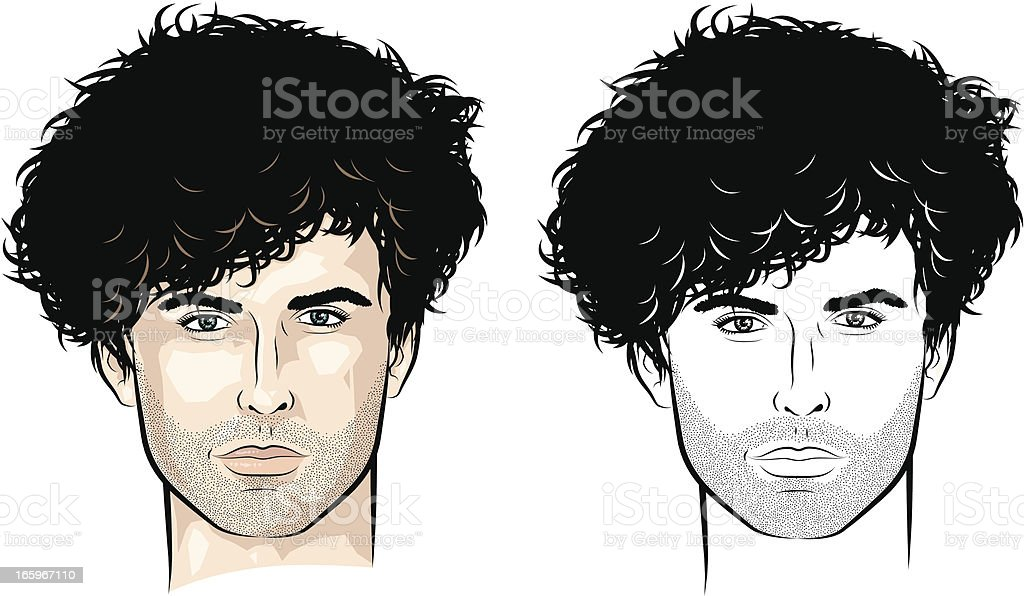 Man with lots of curls vector art illustration