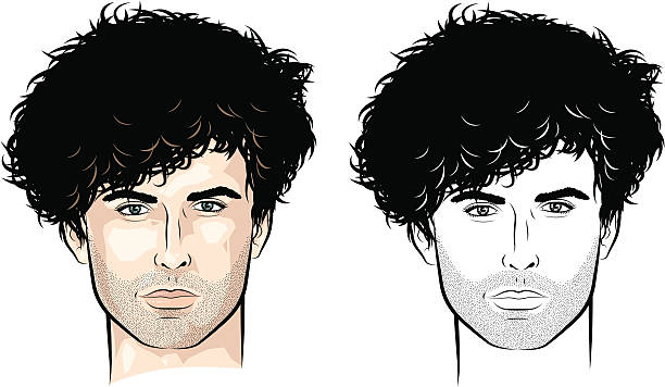 Man with lots of curls Vector-illustration of a young man's face. suave stock illustrations