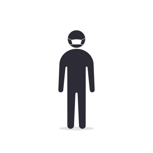 Man with mask icon vector in trendy flat style isolated on white. Coronavirus protection concept Man with mask icon vector in trendy flat style isolated on white. Coronavirus protection concept. one man only stock illustrations