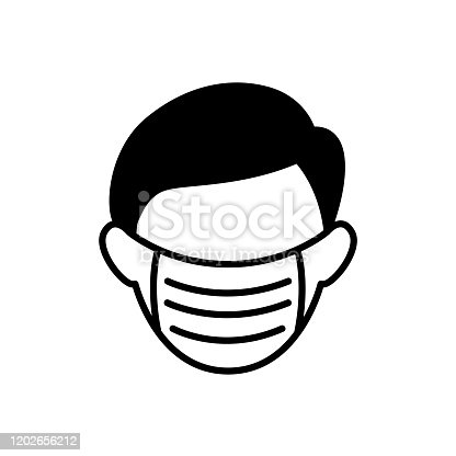 Man with medical mask icon in air pollutions concept. Flat style vector.