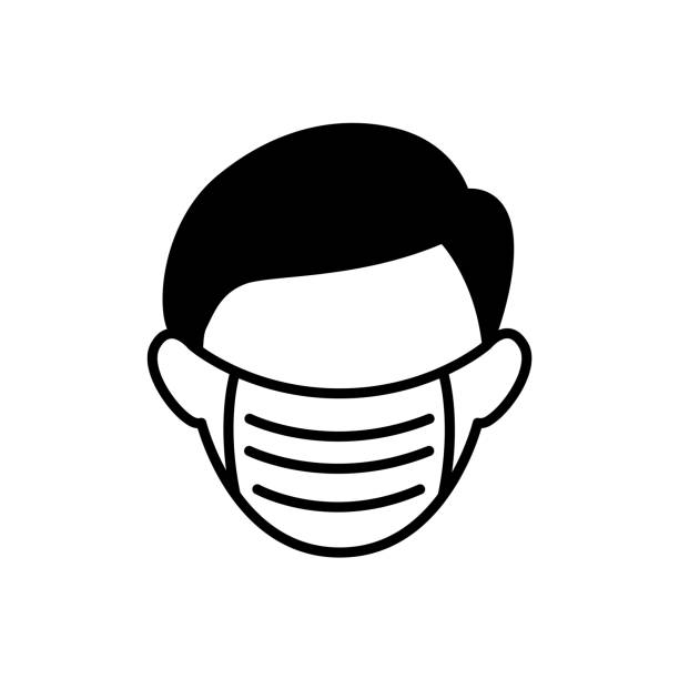 man with medical mask icon in air pollutions concept - mask stock illustrations