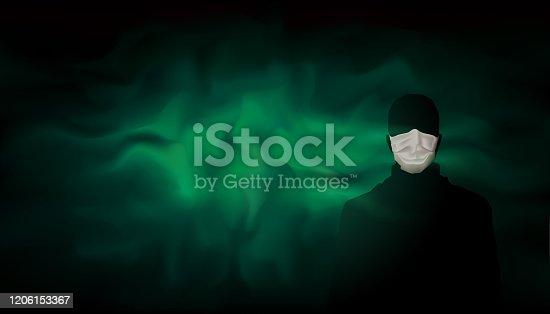 Man with medical mask on background of green blue poisonous dangerous haze, smoke. Spread of the virus, coronavirus, epidemic. Contaminated green fog. Quarantined zone. Masked man. Vector illustration