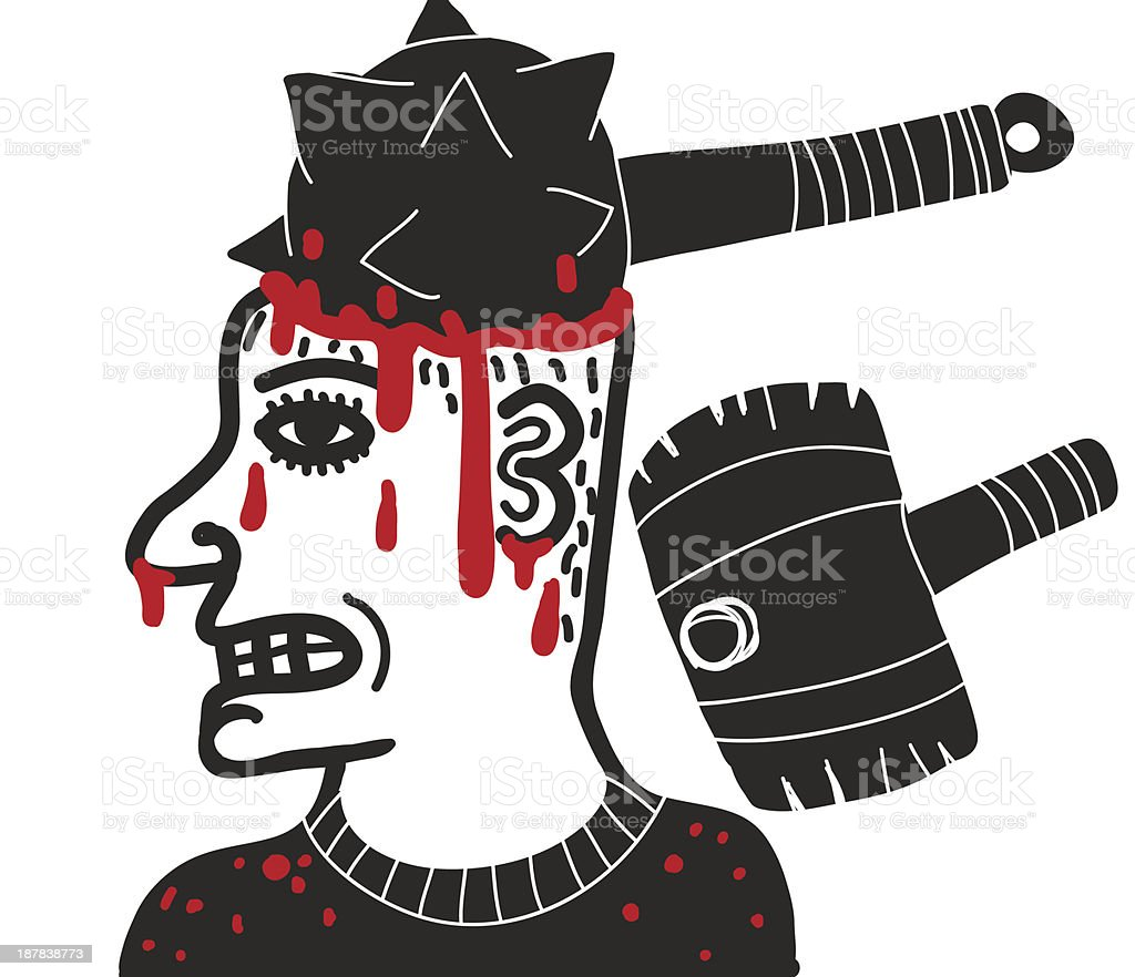 man with medieval mace crushing his head vector art illustration