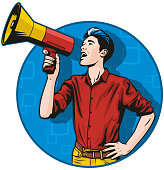 Retro pop art illustration of a handsome young man shouting into a megaphone.