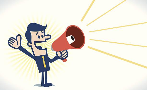 Man with megaphone Man with megaphone. good news stock illustrations