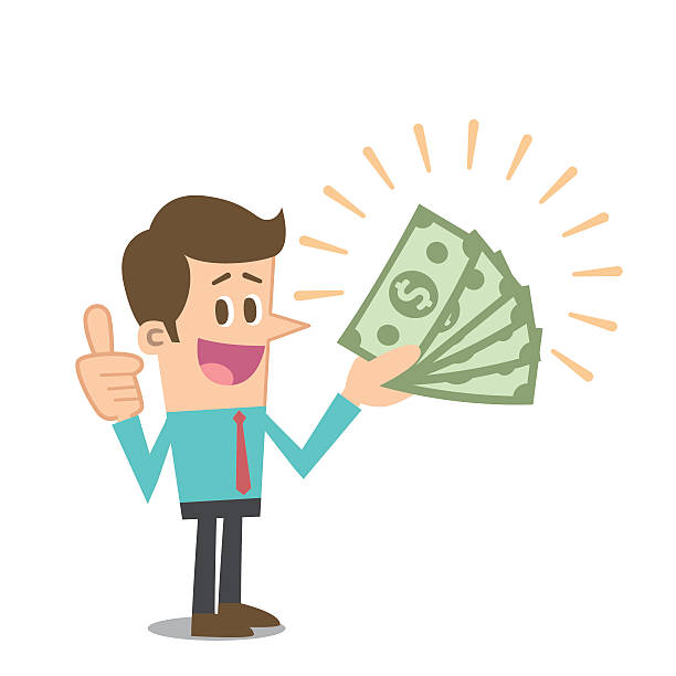 Man with money Man with big money. american one hundred dollar bill stock illustrations