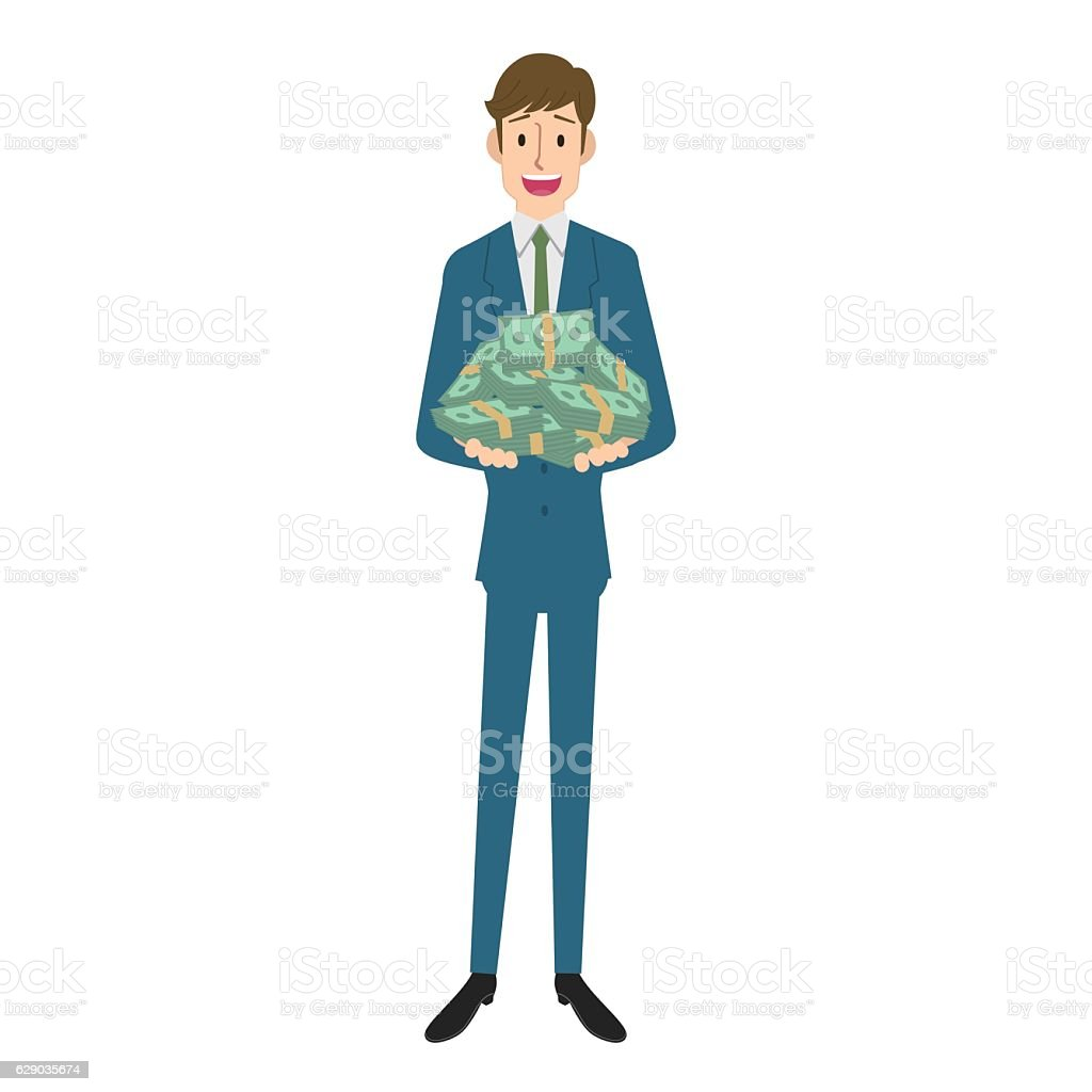 Man with money vector art illustration