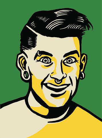 Man with Multiple Piercings
