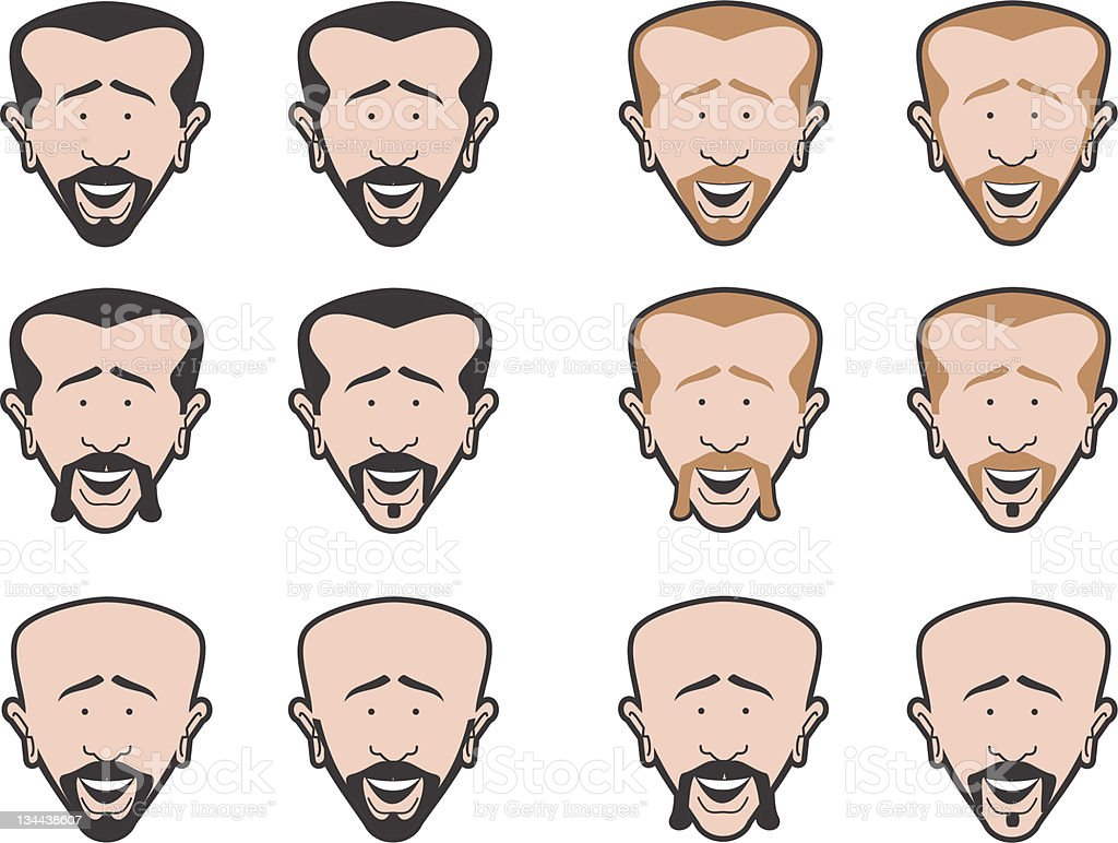 Man with Mustache and Beard vector art illustration