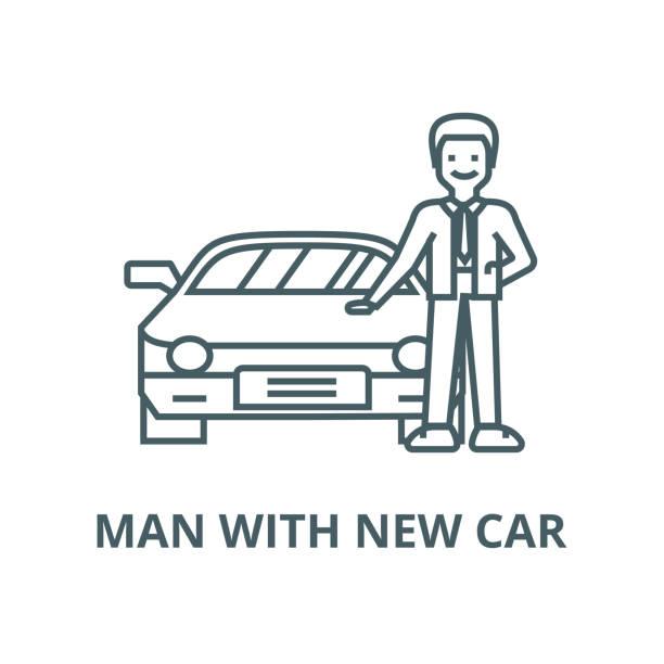 yeni araba ile adam, otomatik vektör hattı simgesi, doğrusal kavramı, anahat işareti, sembol - sale stock illustrations