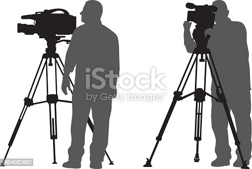 Vector silhouettes of a man using a news camera on a tripod.