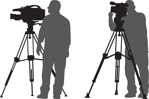 Man with News Camera Silhouettes