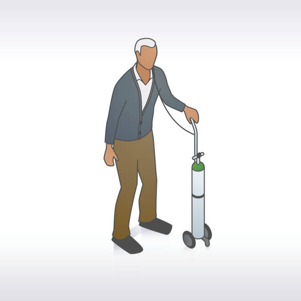Man with Oxygen Tank Illustration vector art illustration