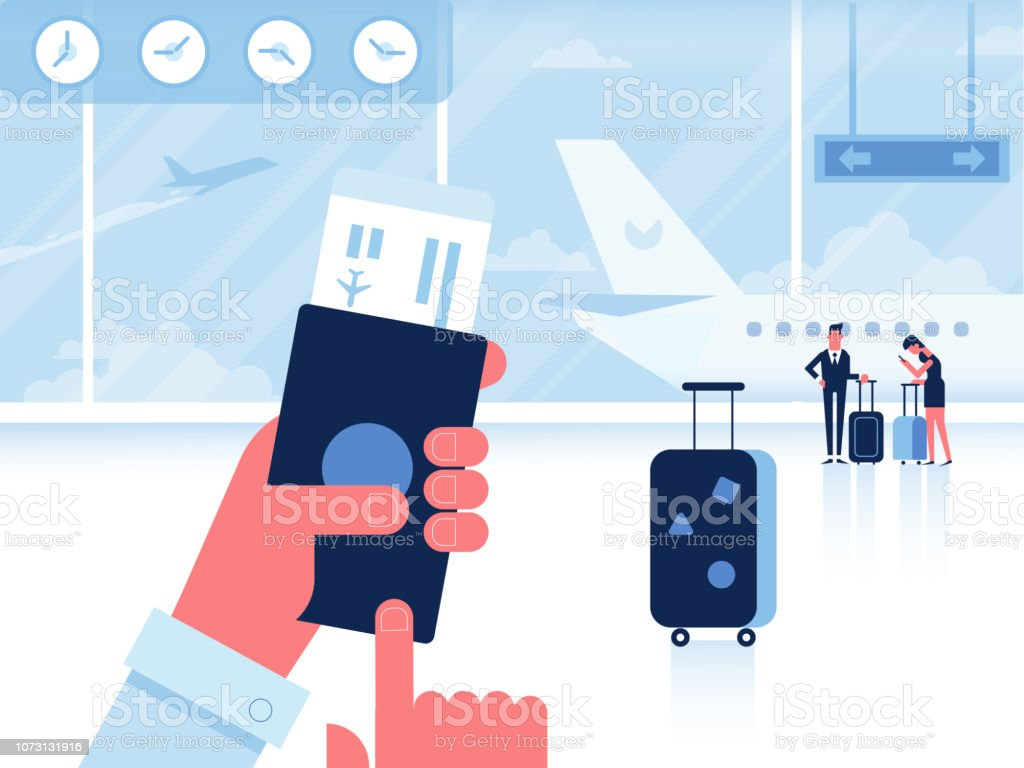 Man with passport and boarding pass waiting flight inside of airport. vector art illustration