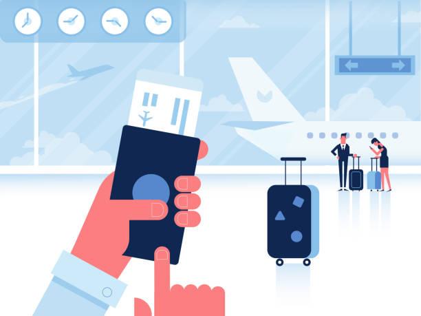 Mann mit Pass und Pass warten Weiterflug innerhalb des Flughafens. – Vektorgrafik