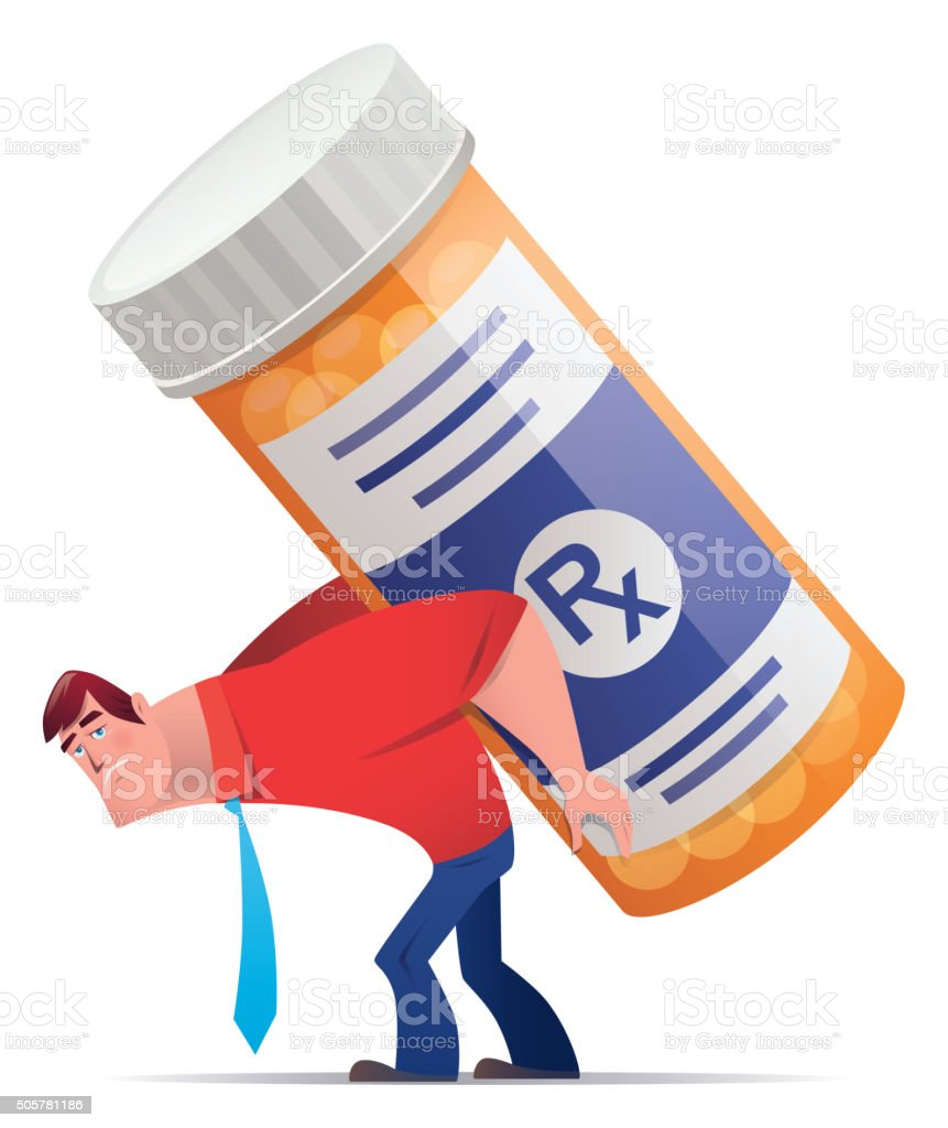 man with pill bottle vector art illustration