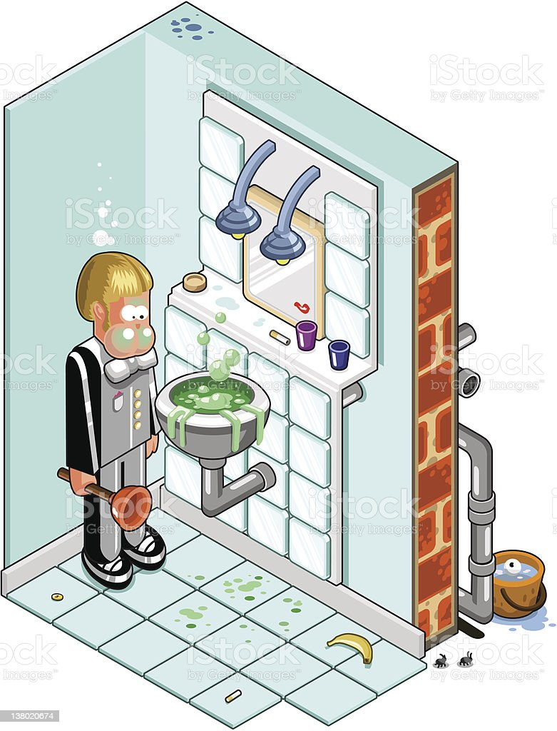 Man with plunger in bathroom (vector) vector art illustration