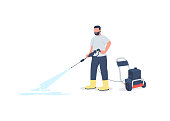 Man with power wash gun flat color vector faceless character. Washing sidewalk. Professional cleaner. Outdoor spring cleaning isolated cartoon illustration for web graphic design and animation