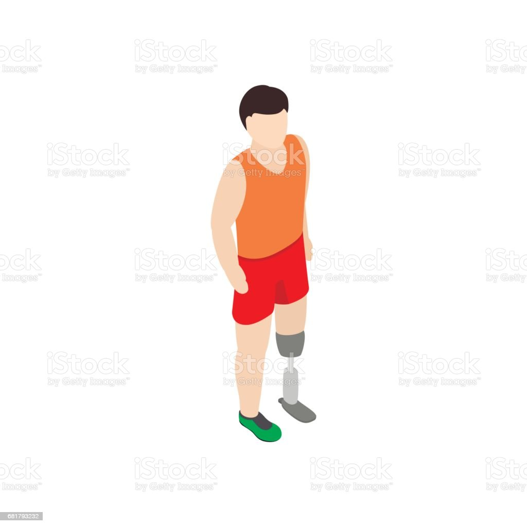 Man with prosthetic leg icon, isometric 3d style vector art illustration