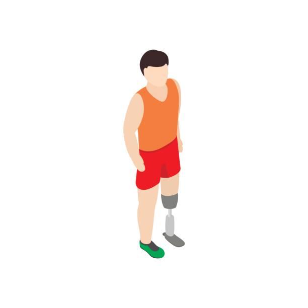 Man with prosthetic leg icon, isometric 3d style vector art illustration