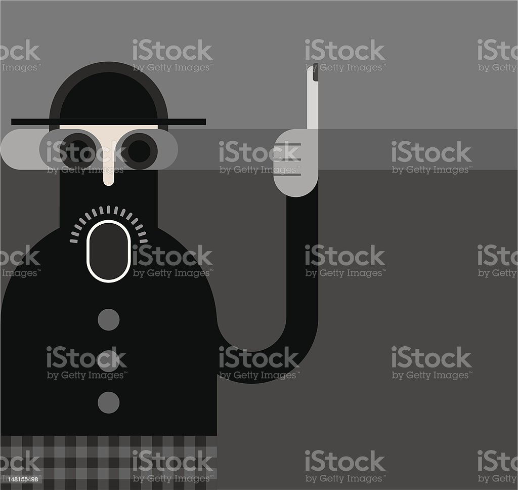 Man with raised index finger royalty-free stock vector art