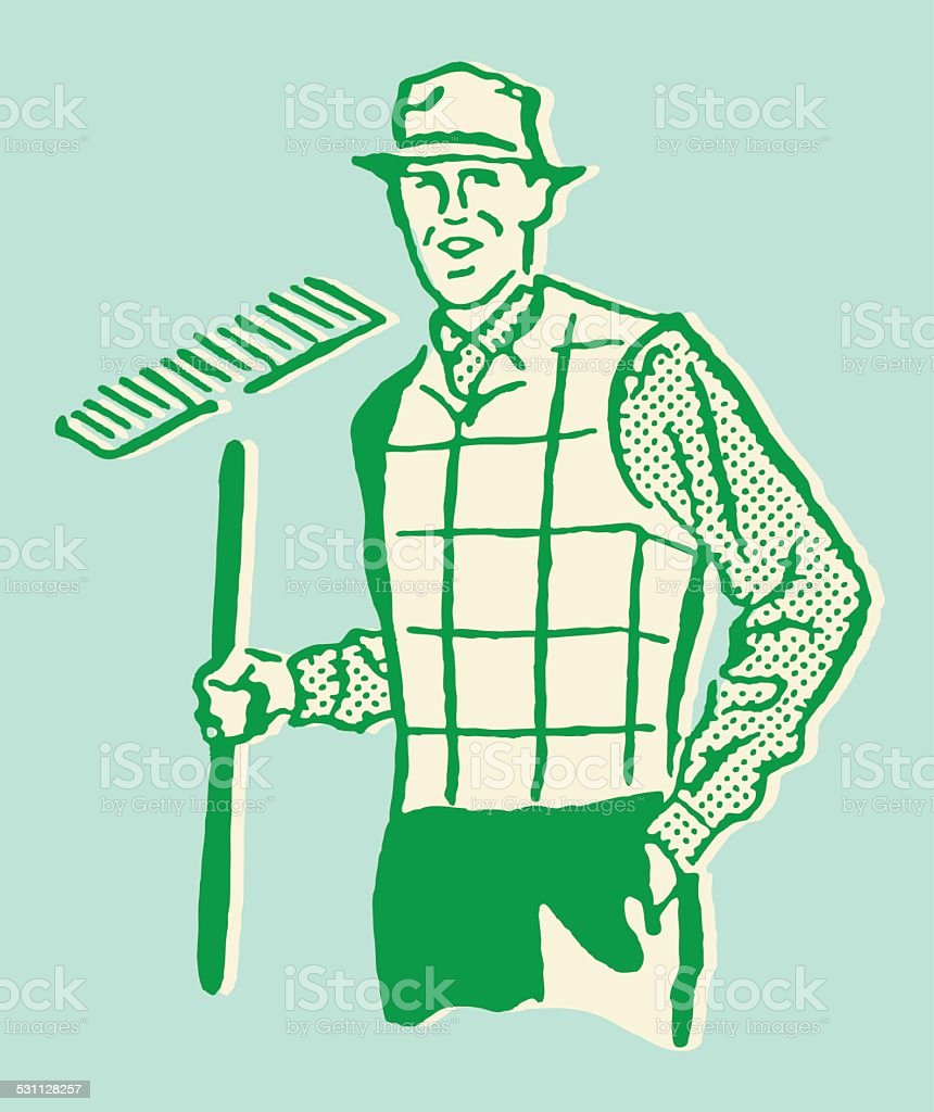 Man with Rake vector art illustration