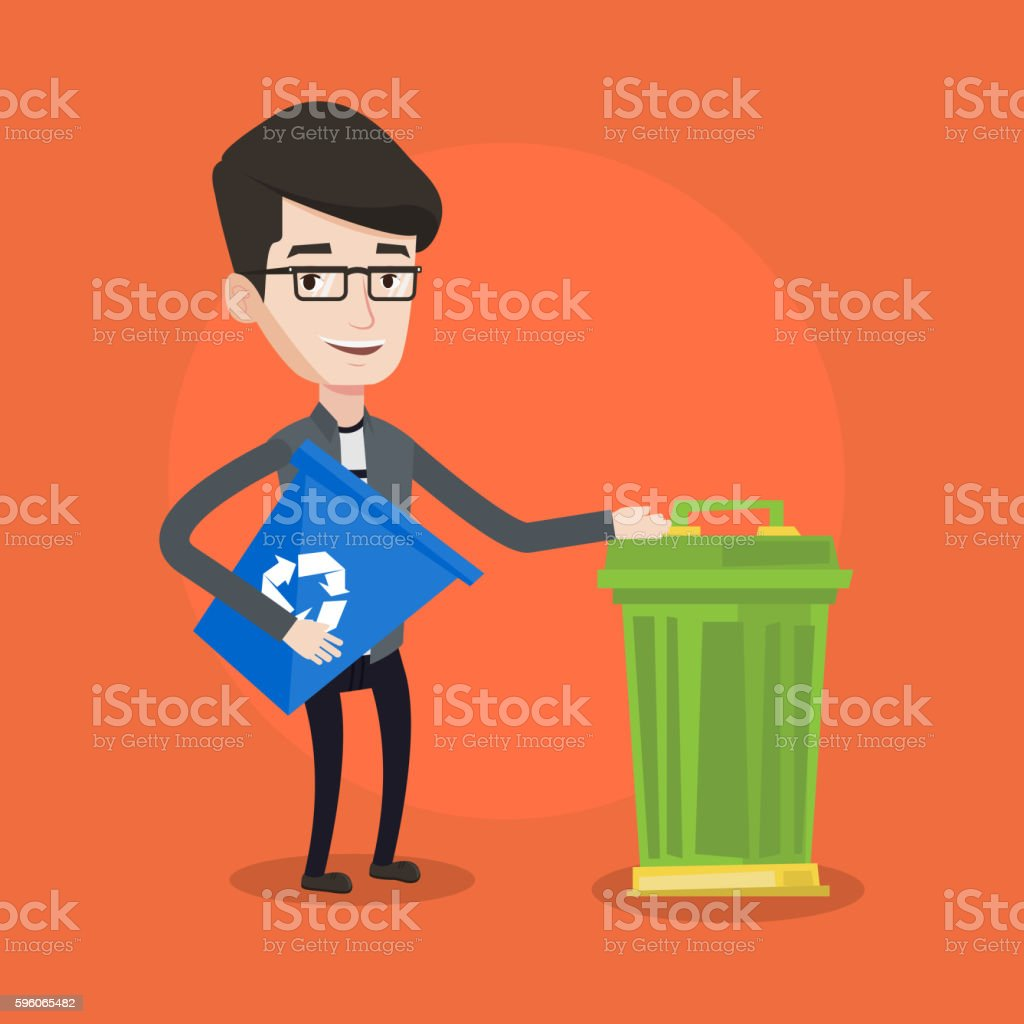 Man with recycle bin and trash can. royalty-free man with recycle bin and trash can stock vector art & more images of can