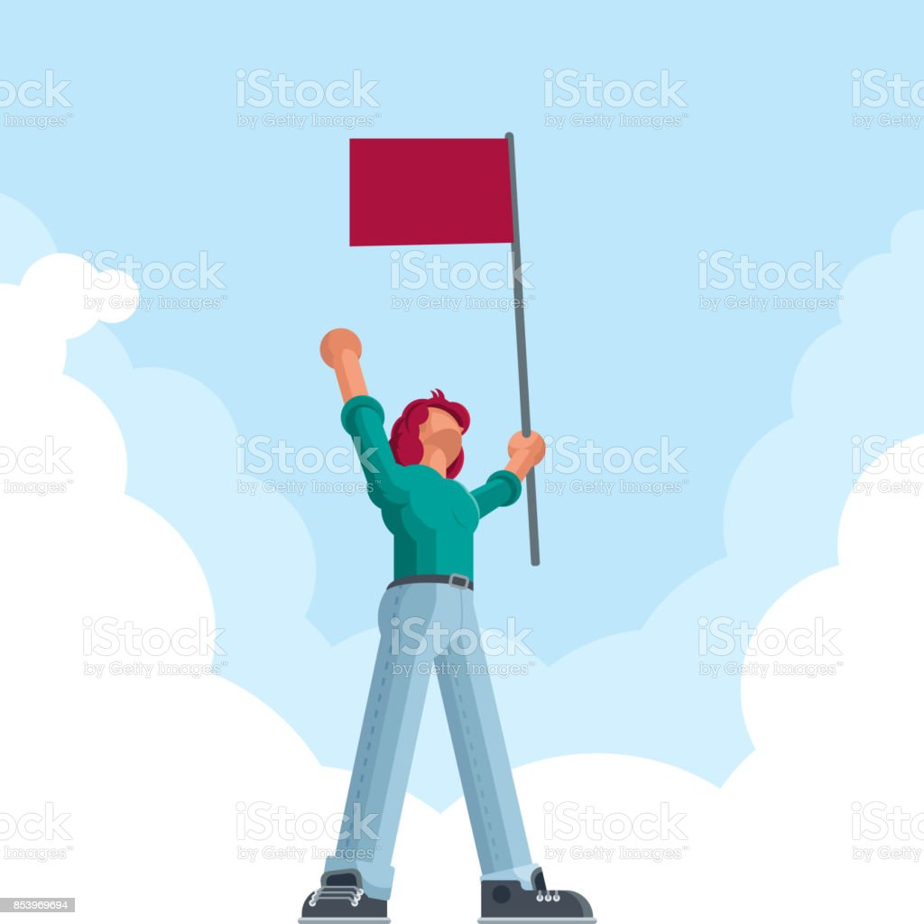 Man with red flag vector art illustration