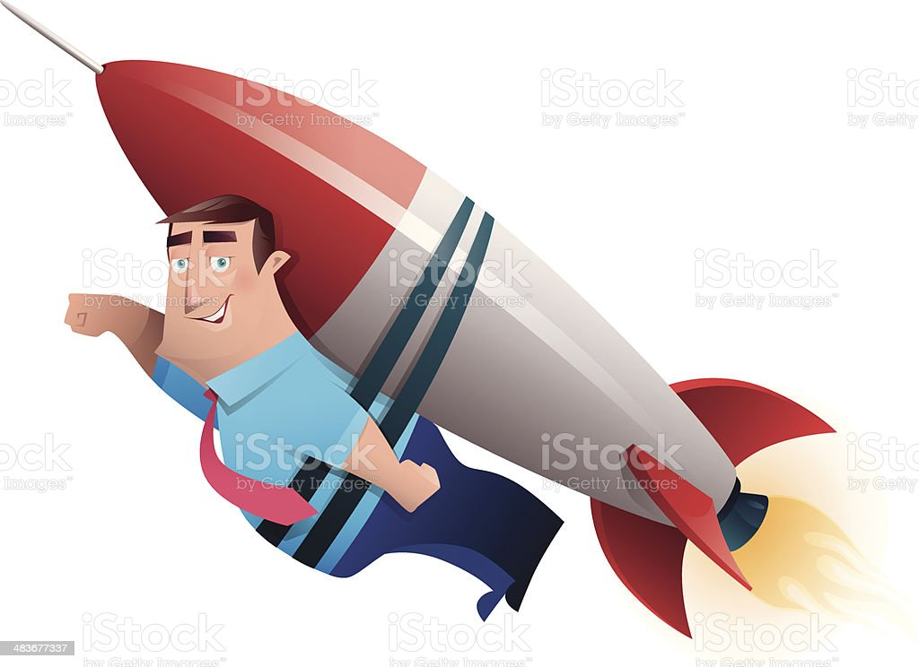 man with rocket launching vector art illustration