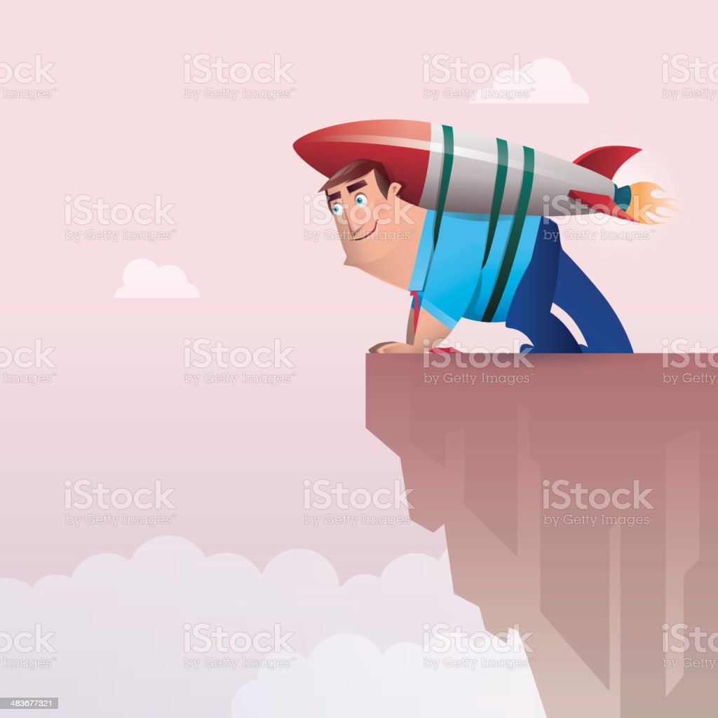 man with rocket royalty-free stock vector art